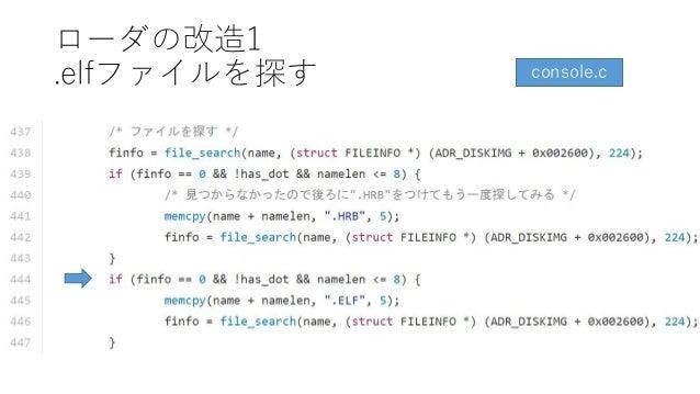 ローダの改造1 .elfファイルを探す console.c