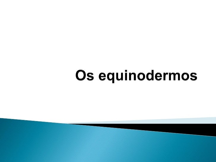   Os equinodermos (do grego echinos: espinhos; derma:    pele) constituem um grupo de animais exclusivamente    marinhos...