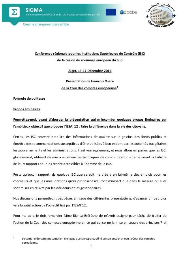 1  Conférence régionale pour les Institutions Supérieures de Contrôle (ISC) de la région du voisinage européen du Sud  Alg...