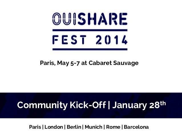 Paris, May 5-7 at Cabaret Sauvage  Community Kick-Off | January 28th Paris | London | Berlin | Munich | Rome | Barcelona