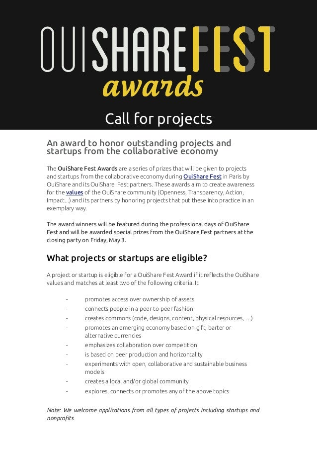 p. 1                       Call for projectsAn award to honor outstanding projects andstartups from the collaborative econ...