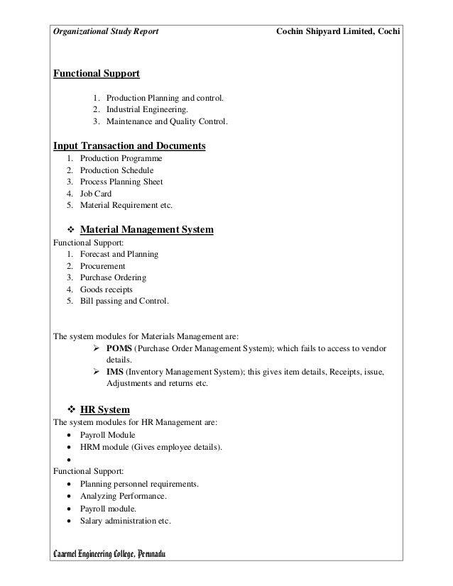 Organisational Study Report of Cochin Shipyard Limited