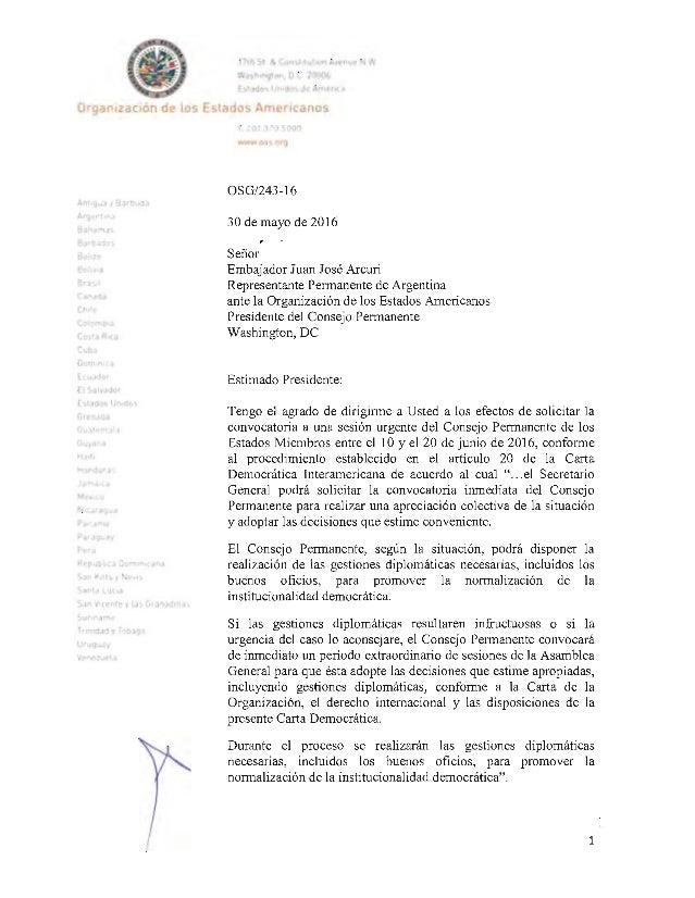 Informe de Almagro sobre Venezuela ante la OEA
