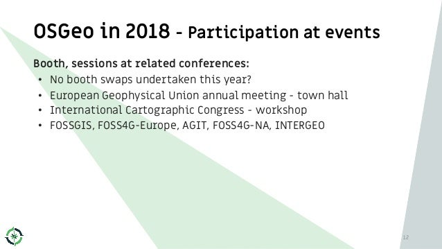 OSGeo in 2018 - Participation at events Booth, sessions at related conferences: • No booth swaps undertaken this year? • E...