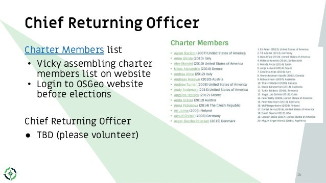Chief Returning Officer 16 Charter Members list • Vicky assembling charter members list on website • Login to OSGeo websit...