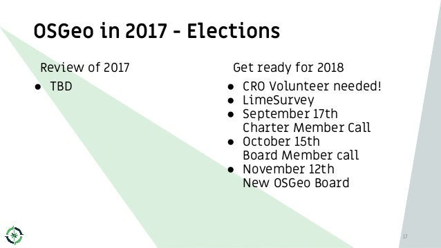 Get ready for 2018 ● CRO Volunteer needed! ● LimeSurvey ● September 17th Charter Member Call ● October 15th Board Member c...