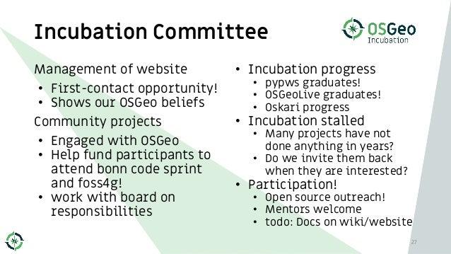 • Incubation progress • pypws graduates! • OSGeoLive graduates! • Oskari progress • Incubation stalled • Many projects hav...