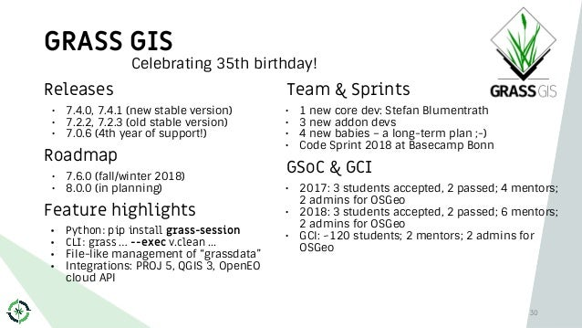 GRASS GIS 30 Releases • 7.4.0, 7.4.1 (new stable version) • 7.2.2, 7.2.3 (old stable version) • 7.0.6 (4th year of support...