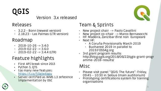 QGIS 31 Releases • 3.2.2 - Bonn (newest version) • 2.18.23 - Las Palmas (LTR version) Roadmap • 2018-10-26 -> 3.4.0 • 2019...