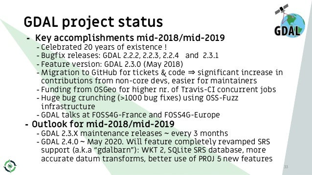 GDAL project status 33 - Key accomplishments mid-2018/mid-2019 - Celebrated 20 years of existence ! - Bugfix releases: GDA...