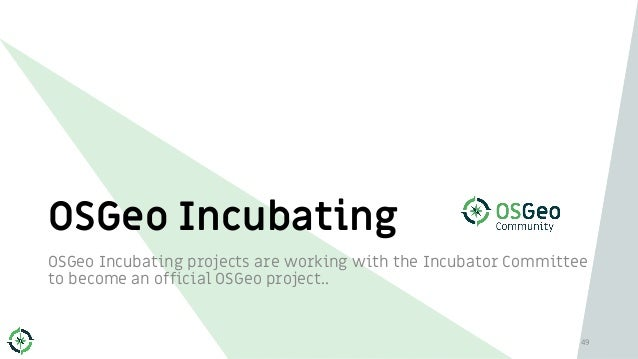 OSGeo Incubating OSGeo Incubating projects are working with the Incubator Committee to become an official OSGeo project.. ...