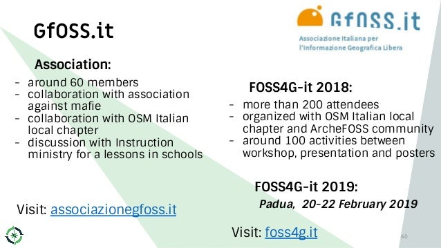 Association: - around 60 members - collaboration with association against mafie - collaboration with OSM Italian local cha...
