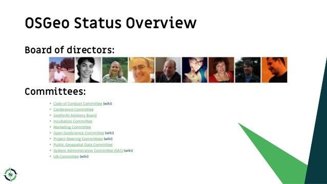 OSGeo Status Overview 7 Board of directors: Committees: