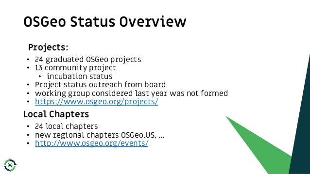 OSGeo Status Overview 8 Projects: • 24 graduated OSGeo projects • 13 community project • incubation status • Project statu...