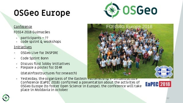 OSGeo Europe Conference FOSS4 2018 Guimarães - participants ~ ?? - code sprint & workshops Initiatives - OSGeo Live for IN...