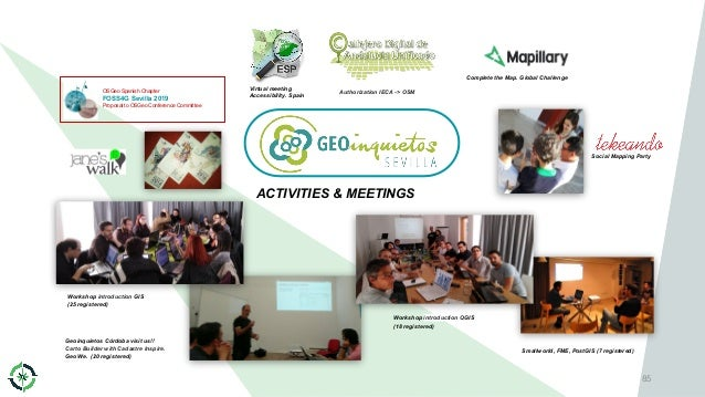 85 ACTIVITIES & MEETINGS OSGeo Spanish Chapter FOSS4G Sevilla 2019 Proposal to OSGeo Conference Committee Virtual meeting ...