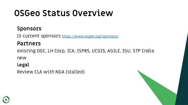 OSGeo Status Overview 9 Sponsors 15 current sponsors https://www.osgeo.org/sponsors/ Partners existing OGC, LH Corp, ICA, ...