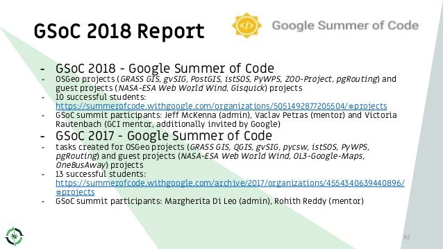 GSoC 2018 Report 92 - GSoC 2018 - Google Summer of Code - OSGeo projects (GRASS GIS, gvSIG, PostGIS, istSOS, PyWPS, ZOO-Pr...