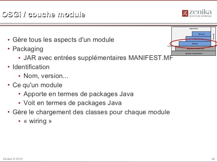 OSGi / couche module                                                             Application                              ...