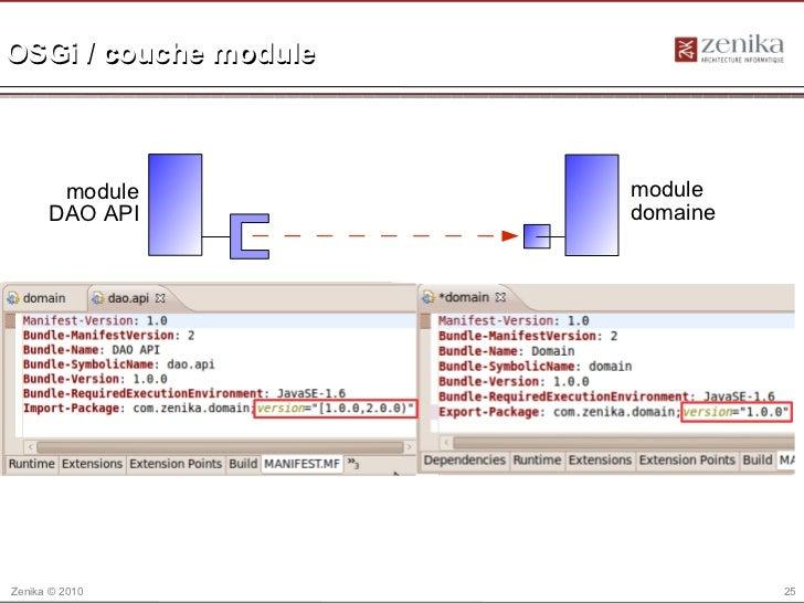 OSGi / couche module       module          module      DAO API          domaineZenika © 2010                    25