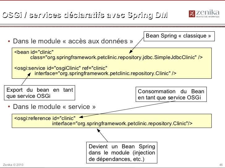 OSGi / services déclaratifs avec Spring DM                                                               Bean Spring « cla...