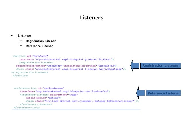 Osgi blueprint reference 32 listeners listener registration malvernweather Gallery