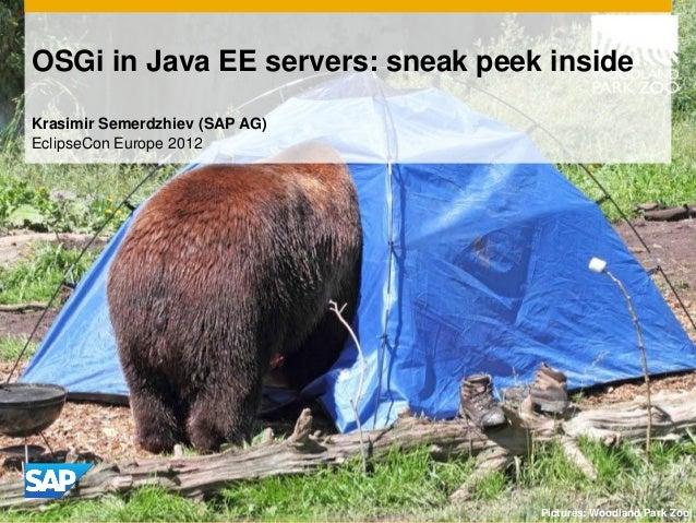 OSGi in Java EE servers: sneak peek insideKrasimir Semerdzhiev (SAP AG)EclipseCon Europe 2012                             ...