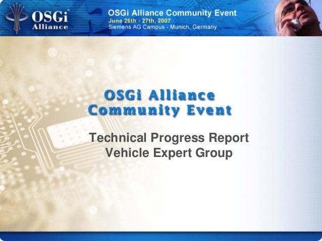 Technical Progress Report Vehicle Expert Group