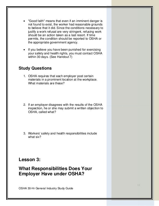 Osha 30 hour General Industry Outreach Training