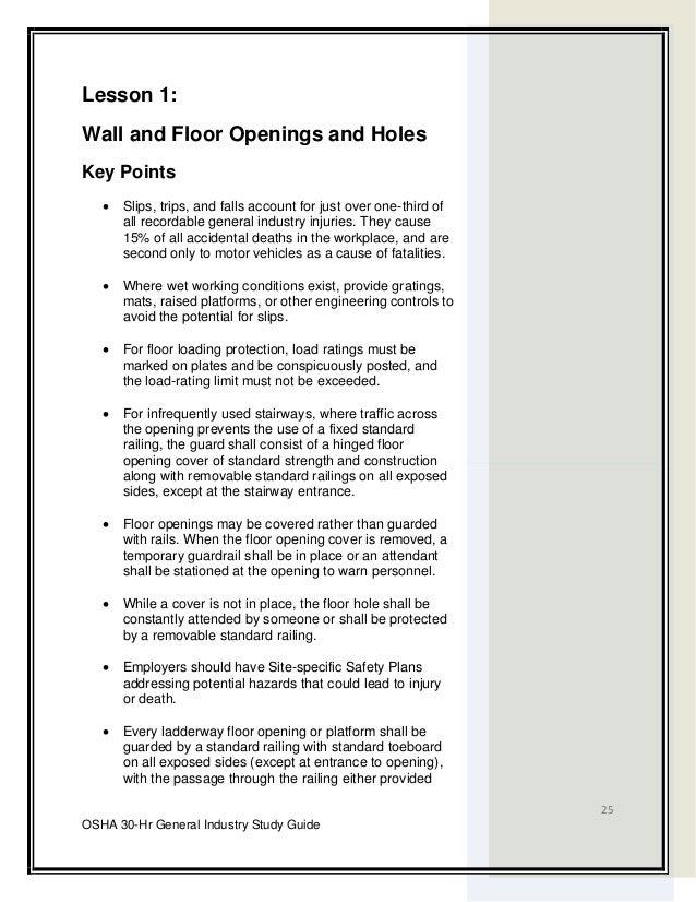 Osha 30 hour General Industry Outreach Training – Site Safety Plan Osha
