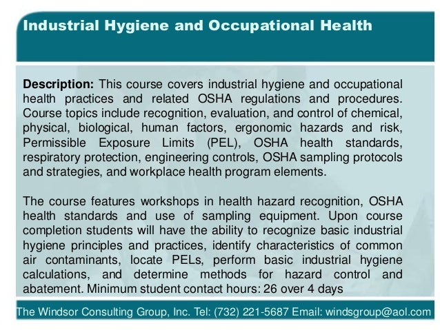 2018 Occupational Health and Safety Training Courses
