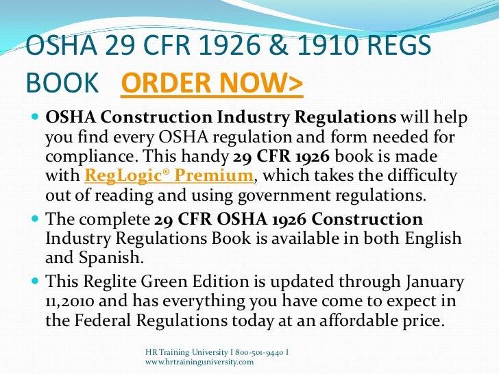 Http Www Hrtraininguniversity Com Osha Cfr 29 1926 1910 Php