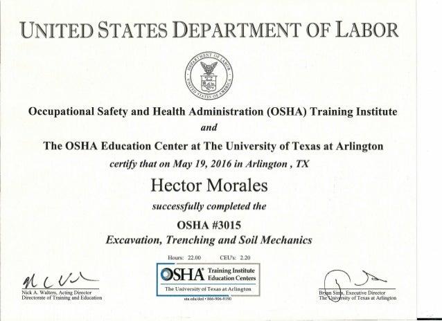 OSHA 3015 certificate
