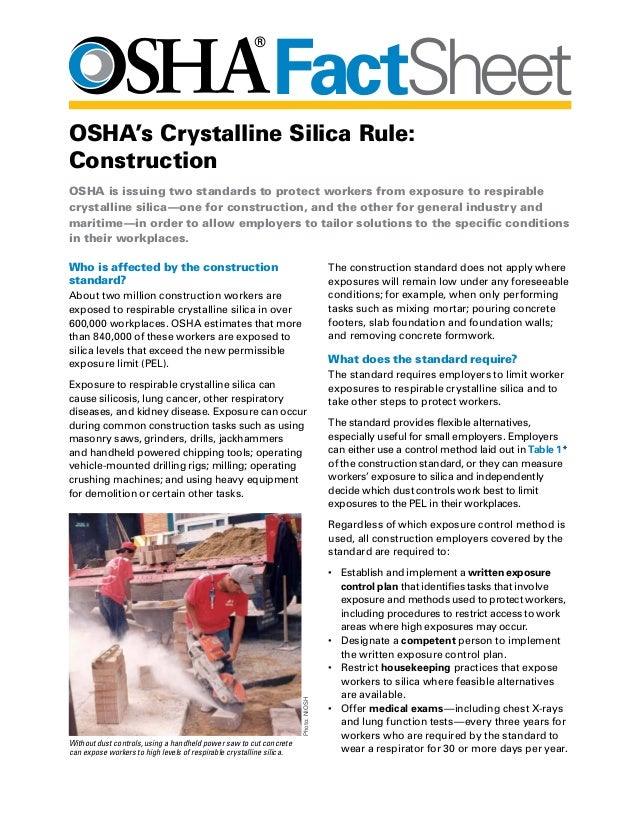 Osha fact sheet osha 39 s crystalline silica rule construction for Construction rules and regulations