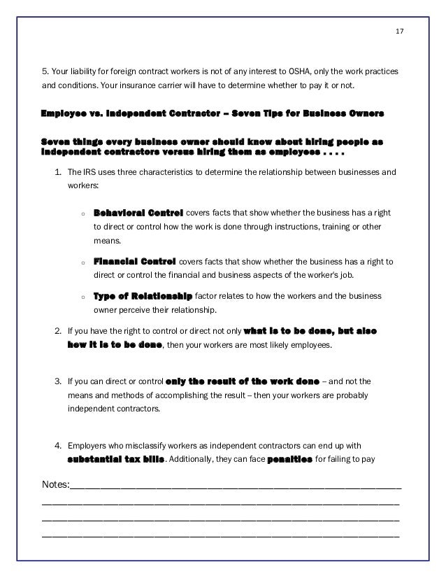 Osha and the independent contractor for Property disclaimer template
