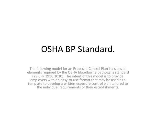 bloodborne pathogens policy template - osha bloodborne pathogens standard unit 3