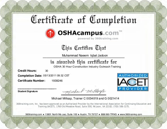 Online training free online osha training and certification for Osha 10 certificate template