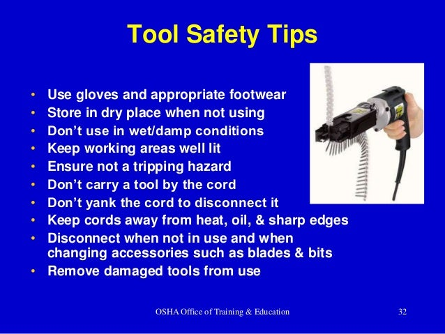 Construction electrical safety training by south carolina state assoc osha office of training education 32 tool safety tips publicscrutiny Choice Image