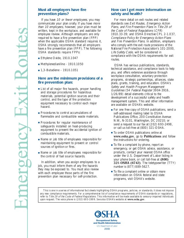3.  sc 1 st  SlideShare & Osha Emergency Exit Routes Factsheet pezcame.com