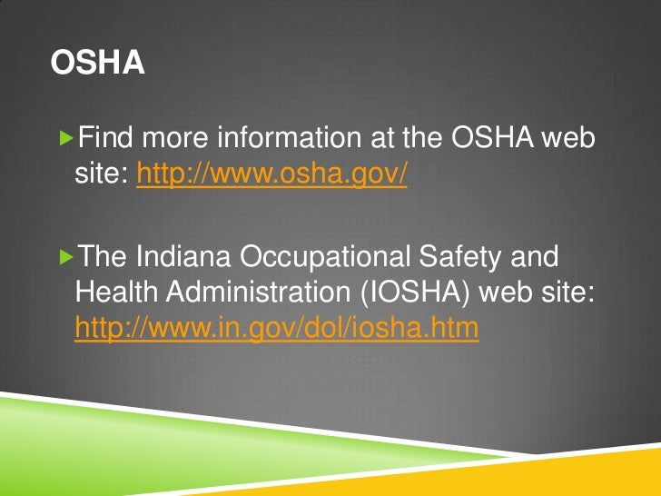occupational safety and health administrator The occupational safety and health administration ( osha ) is an agency of the united states department of labor congress established the agency under the occupational safety and health act , which president richard m nixon signed into law on december 29, 1970 osha's mission is to assure.