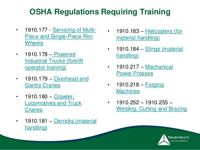 essay on osha regulations Osha training institute introduction to osha osha to workers and to inform workers of their rights under osha training requirements in osha standards and.