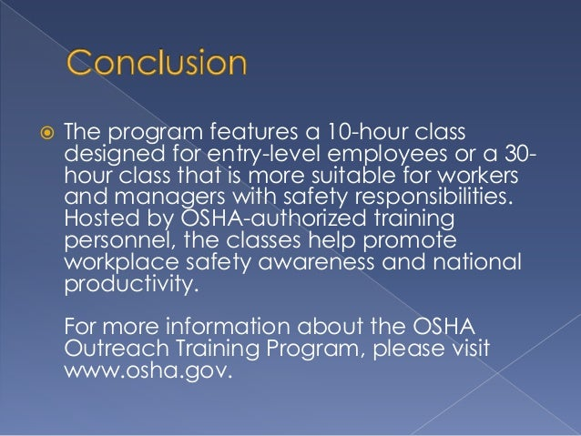 OSHA's Outreach Training Program