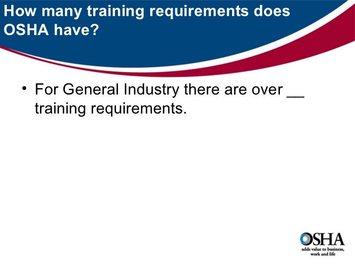 Osha Training Requirements