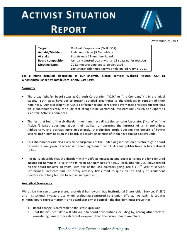 The Shareholder Communication Strategists For a more detailed discussion of our analysis, please contact Waheed Hassan, CF...