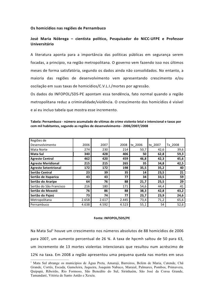 Os homicídios nas regiões de Pernambuco  José Maria Nóbrega – cientista político, Pesquisador do NICC-UFPE e Professor Uni...