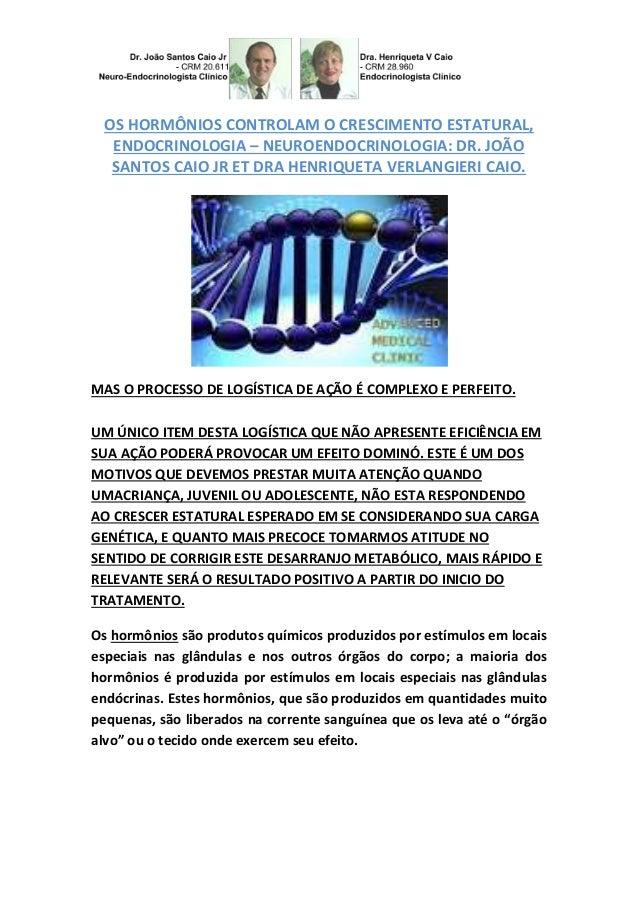 OS HORMÔNIOS CONTROLAM O CRESCIMENTO ESTATURAL,  ENDOCRINOLOGIA – NEUROENDOCRINOLOGIA: DR. JOÃO  SANTOS CAIO JR ET DRA HEN...