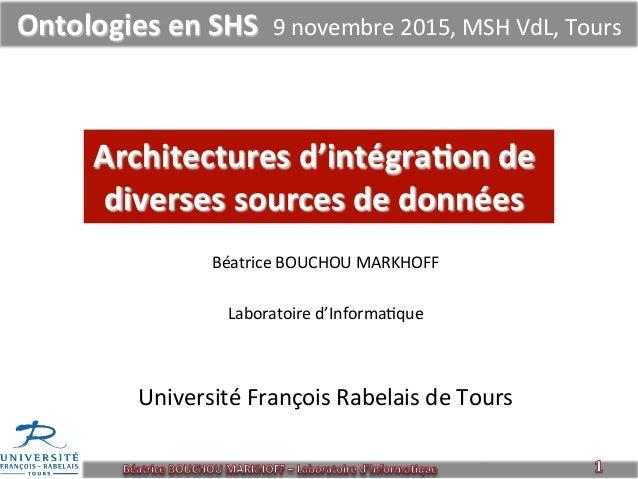 Architectures  d'intégra1on  de   diverses  sources  de  données   Béatrice  BOUCHOU  MARKHOFF      ...