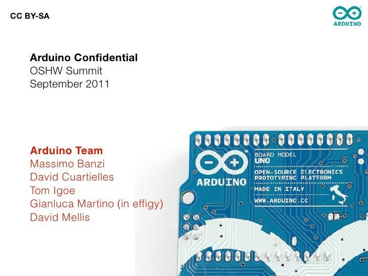 CC BY-SA    Arduino Confidential    OSHW Summit    September 2011    Arduino Team    Massimo Banzi    David Cuartielles    ...
