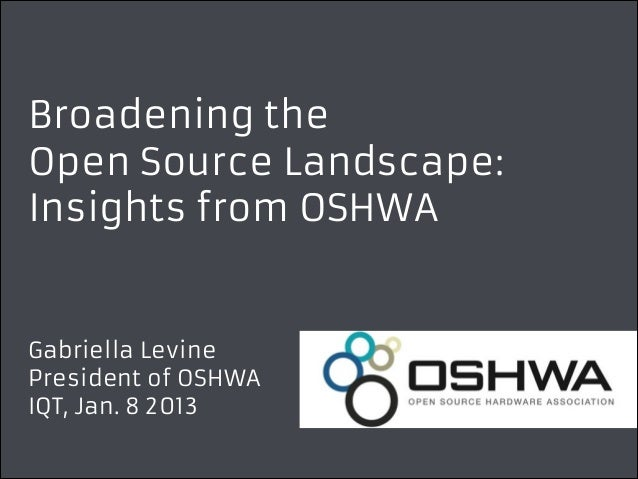 Broadening the Open Source Landscape: Insights from OSHWA  Gabriella Levine President of OSHWA IQT, Jan. 8 2013