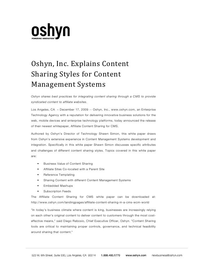 Oshyn Affiliate Content Sharing Content Management Systems Cms